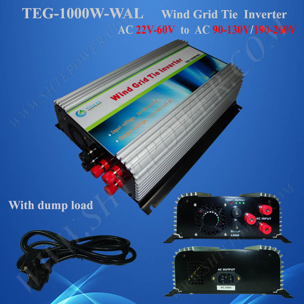 1000W on Grid Tie Wind Turbine Power Inverter AC 22V~60V to AC 190V~260V,Dump Load Controller,for 3 Phase Wind turbine(China (Mainland))