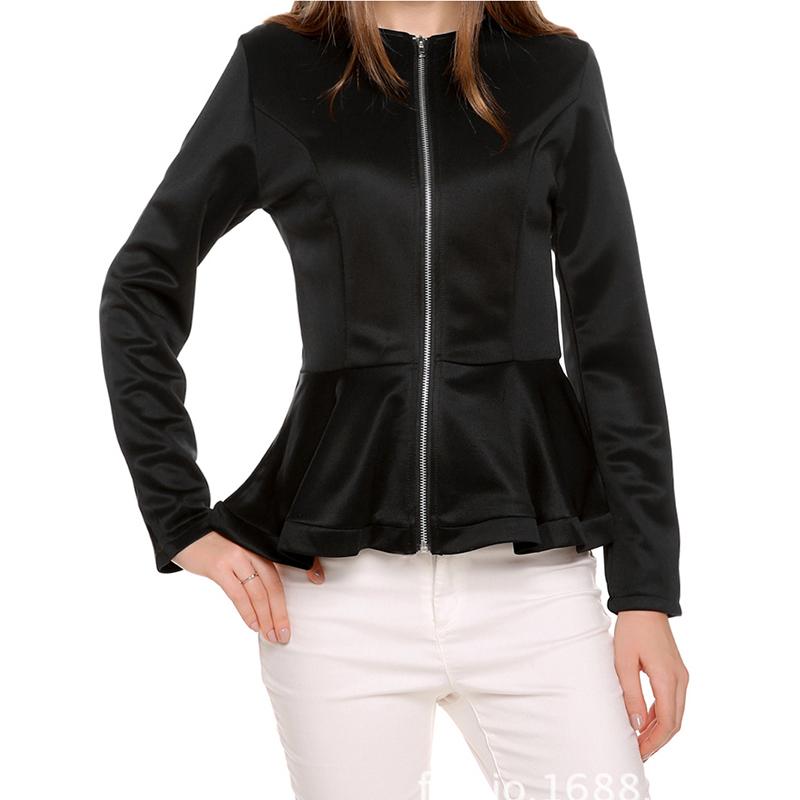 European Style Pure Color Zipper Jacket Round Collar Falbala Casual Coat Women 2015 Autumn Fashion Slim Jaqueta Feminina ZWJ08(China (Mainland))