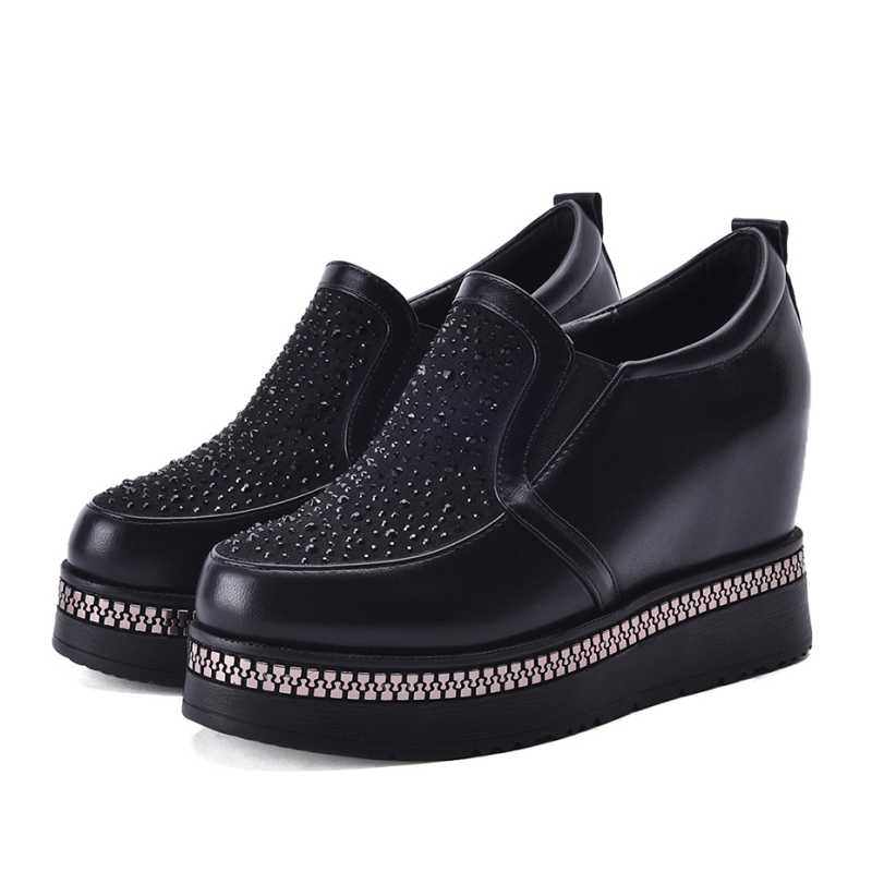 DoraTasia Size 34-39 Fashion Women Rhinestone High Heel Wedge Spring Autumn Shoes Round Toe Platform Casual Dress Pumps