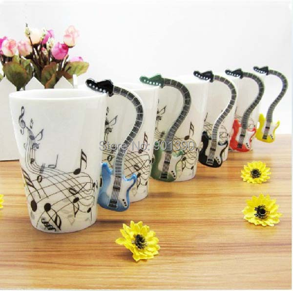 Free Shipping 2014 New High Quality Creative Guitar Music Mug Ceramic Mug Coffee Tea Cup/novelty gift(China (Mainland))