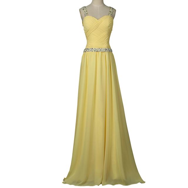В наличии 2016 желтый шифоновых линия платья выпускного вечера пересечь обратно блестящие ...
