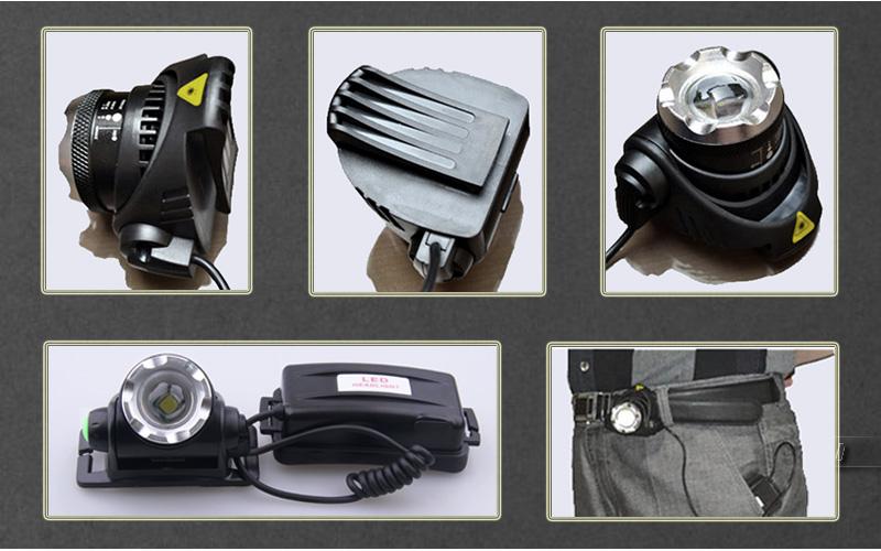 LED Head Lamp/Miners Light 10w CREE xm l t6 headlight zoom in lighting adjustable 4 modes