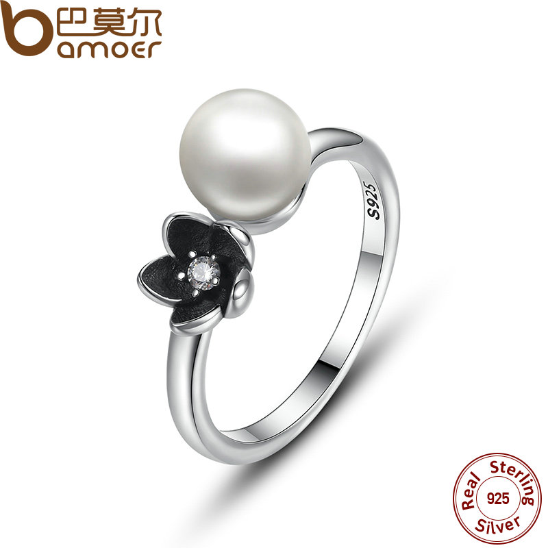 BAMOER 2016 Brand New Collection 925 Sterling Silver Mystic Floral Stackable Ring, Pearl & Black Enamel Ring Jewelry PA7157(China (Mainland))