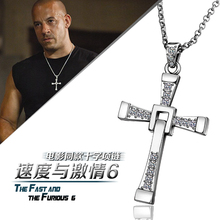 The Fast And The Furious Dominic Toretto Vin Diese Movie Jewelry Austrian Crystal gold colour Cross Necklace&Pendant Men(China (Mainland))