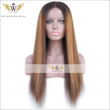 6A Yaki Full Lace Wigs Human Hair Two Tone Ombre Kinky Straight Lace Wigs Hair Lace Front Wigs For Black Women(China (Mainland))