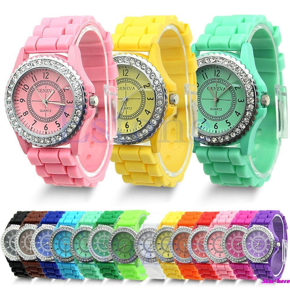 Geneva Fashion Crystal Jelly Gel Silicon Girl Women's Quartz Wrist Watch Free Shipping(China (Mainland))