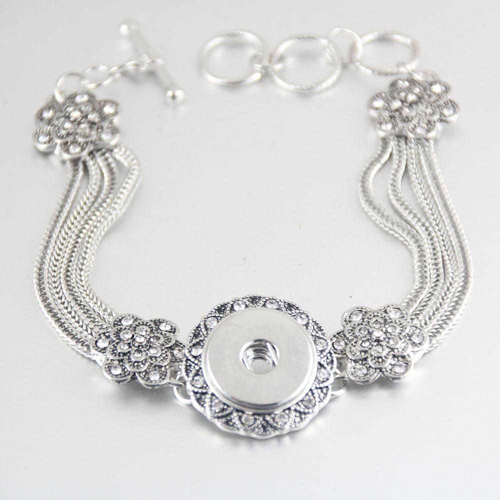 1pcs Flower crystal snap charm bracelet rhinestone beads 18mm ginger snap button armband sterling jewelry bracelets&bangles(China (Mainland))
