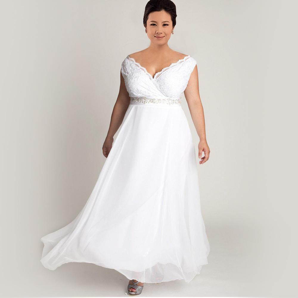 Lace Chiffon Plus Size Wedding Dress Simple V Neck Empire Cap Sleeve Women Wedding Dress Plus Size 2016 PS10(China (Mainland))