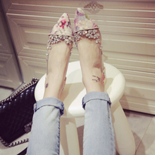Rhinestone Flat Shoes Women Autumn New Arrival 2016 Female Personalized Floral Print Pointed Toe Fashion Flats Ladies Shoes