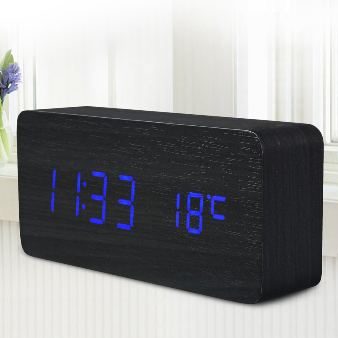 Fashion 2016 Sound Control LED Wooden Alarm Clock Digital Time Temperature Week Calendar Display for Home(China (Mainland))