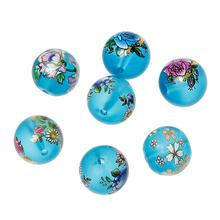 "Buy 8SEASONS Glass Loose Beads Round Blue Flower Pattern Random Transparent 14mm (4/8"")Dia,Hole:Approx 1.8mm-2.3mm,5 Pcs for $2.70 in AliExpress store"