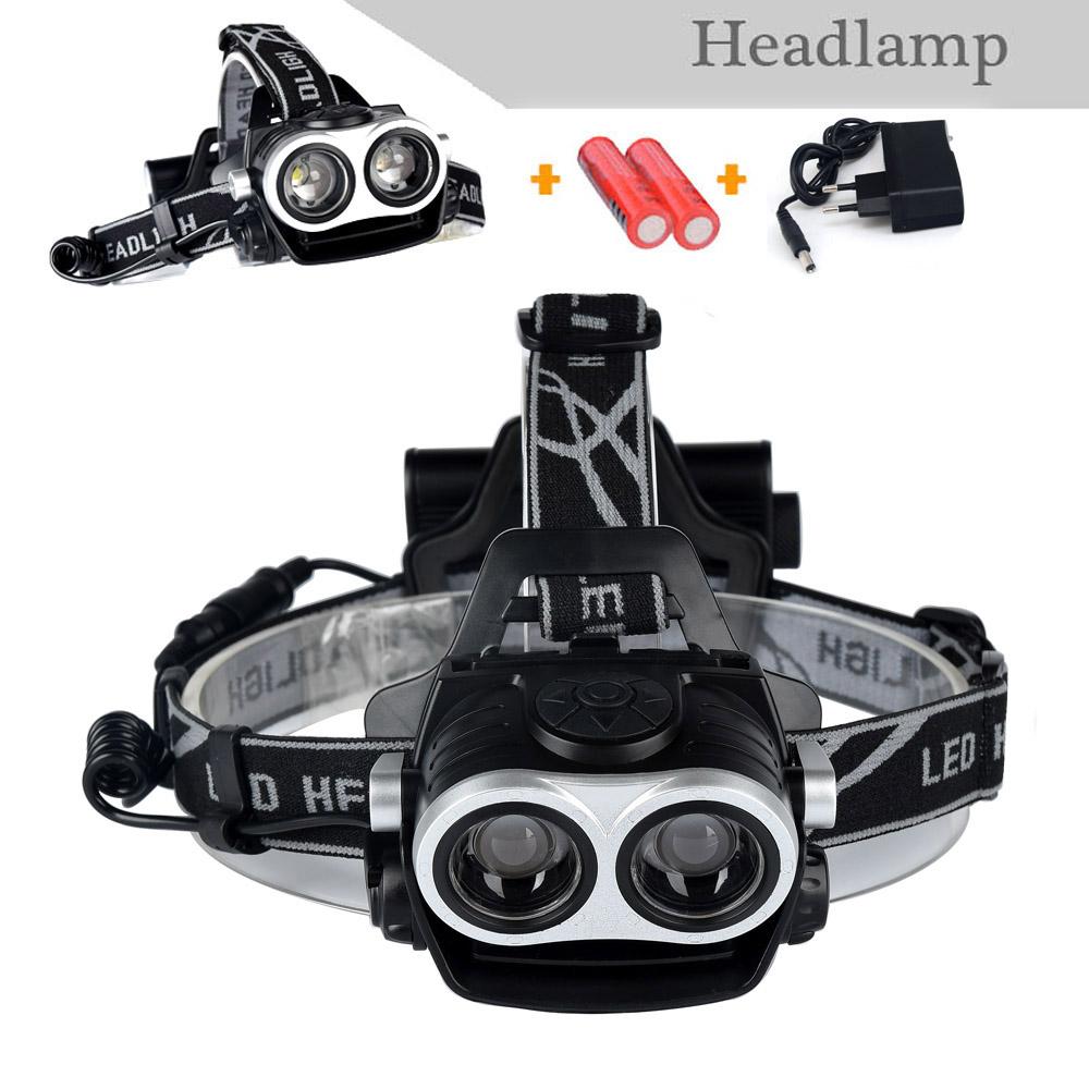 New Style CREE XML T6 2LED Zoomable Headlight, Headlamp, Fishing, Camping, Head Lamp+18650 battery+ EU/US Plug Charger(China (Mainland))