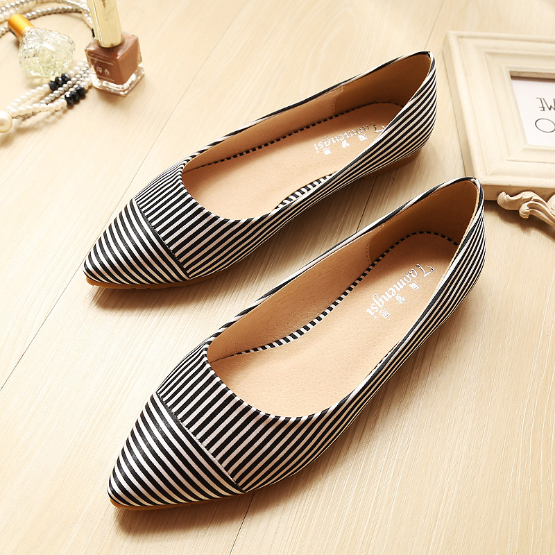 Fashion Striped pointed toe women ballet flats shoes woman casual shoes 34-43<br><br>Aliexpress