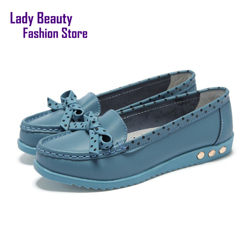 Genuine Leather Slip-On Polka Dot Pattern Bowtie Design Soft Leather Pointed Toe for Women Flats Free Shipment<br><br>Aliexpress