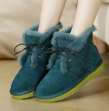 Nueva llegada 2014 mujeres del invierno doble cara de piel botas de nieve a media pierna con cordones de lana botas planas sólidos dedo del pie redondo zapatos esmerilado E661(China (Mainland))