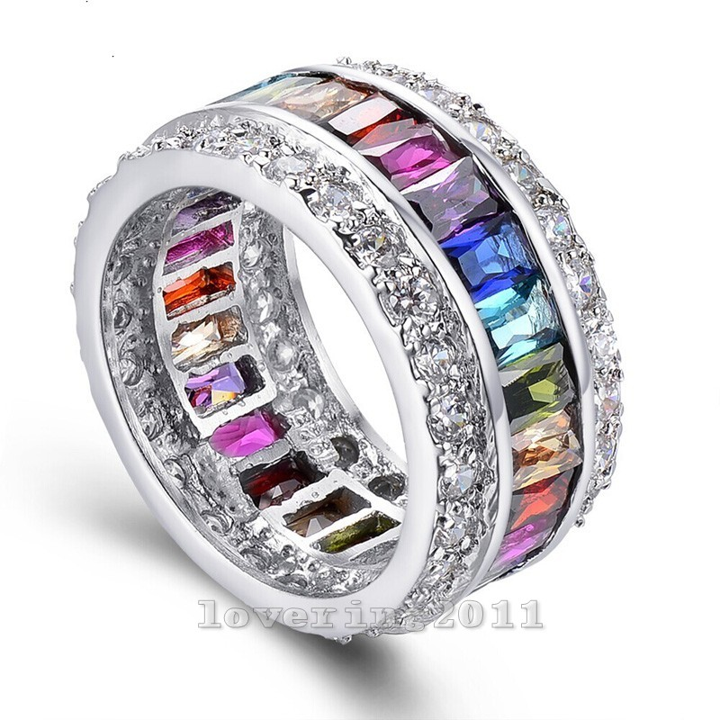 Victoria Wieck Fine Jewelry Full Mitil Color Gem CZ diamond 925 sterling Silver Engagement Wedding Band Ring For Women Sz 5-10(China (Mainland))