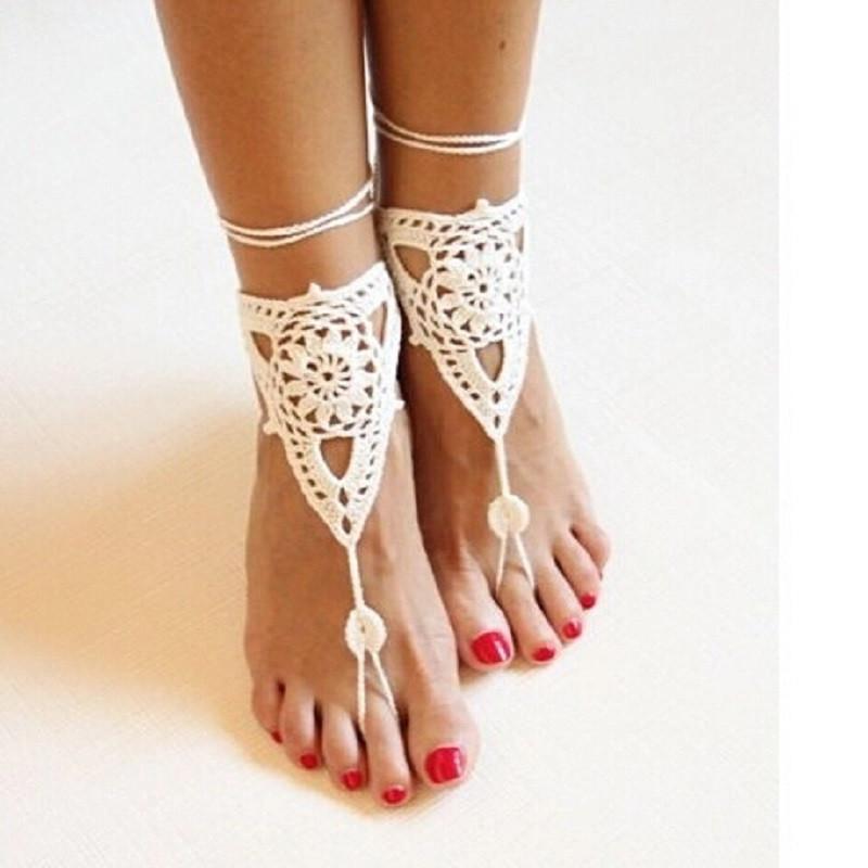 Knit Crochet Barefoot Sandal Anklet Boho Bohemian Hippie Beach Yoga Bridal Style