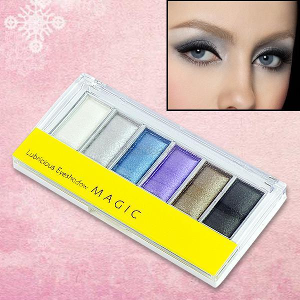 Base makeup 6-color magic lubricious eye shadow eyeshadow powder + brush mirror make up set maquiagem EQ5727(China (Mainland))