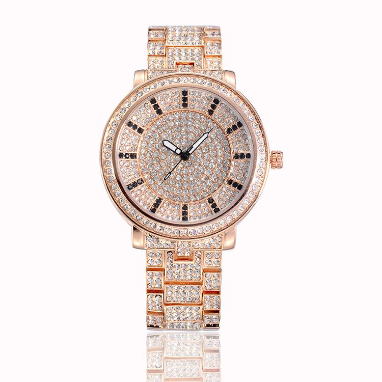 Luxury ladies gold rhinestone watches quartz analog wirst hour waterproof Fashion women wrist - Gnomon watch Industry Co., Ltd store