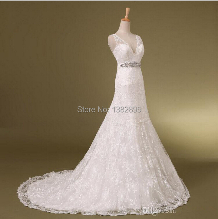 Wedding Dresses With Crystals : New design real photo sexy v neck crystals beaded lace