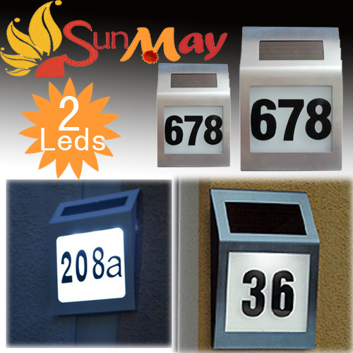 Free shipping 2led stainless steel solar light door plate lamp indicator lamp Solar house number wall decoration walkway light(China (Mainland))