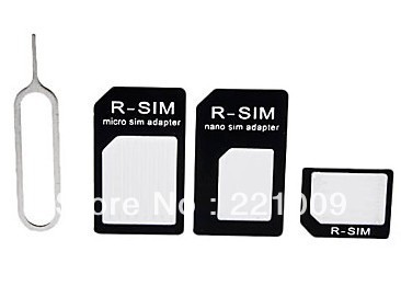 Freeshipping Standard Micro Sim Card Adapter+ Eject Pin for iPhone 5 10pcs/lot