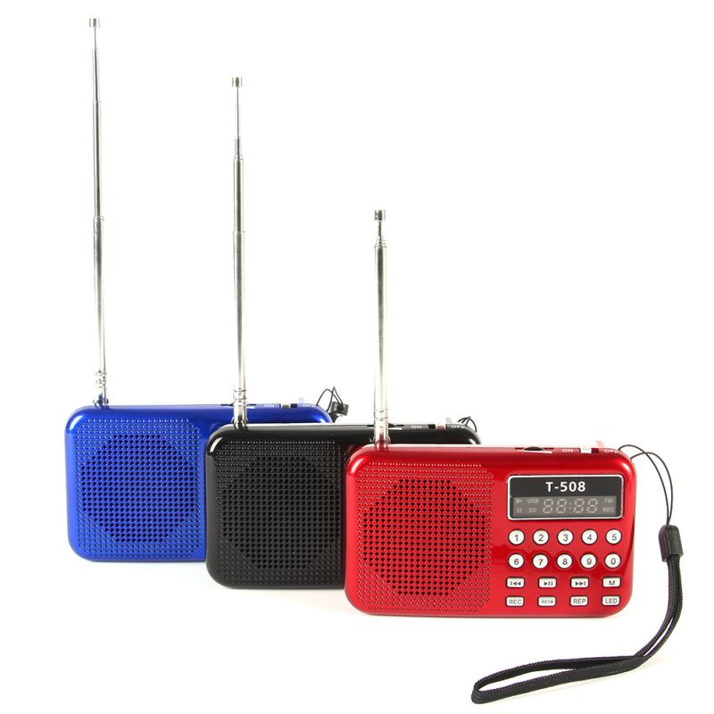 Portable Mini LCD Digital FM Radio Speaker USB Micro Fr SD Card Mp3 Music Player Black Blue Red(China (Mainland))