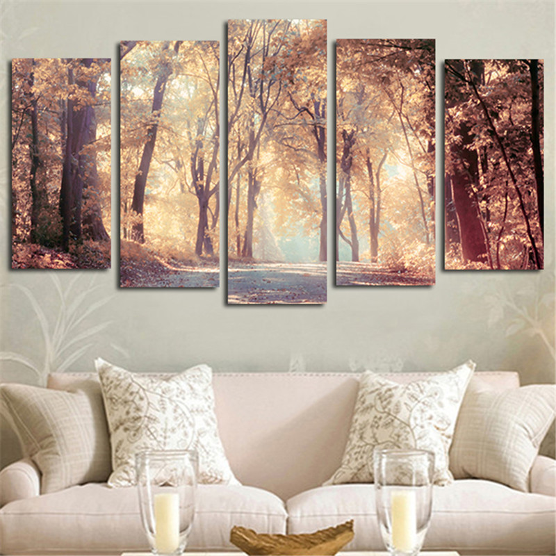 5pcs Wall Art Canvas Painting Printed Landscape Autumn Leaves Modular Pictures Posters Home Decoration For Living Room No Framed(China (Mainland))