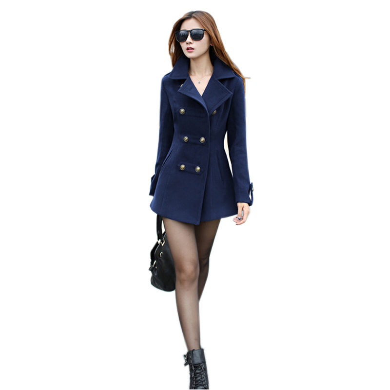 Women Woolen Coat Winter Long Slim Cotton Lapel Overcoat Double Breast thick Warm Coats Outerwear Overcoat New Arrival S-XL(China (Mainland))