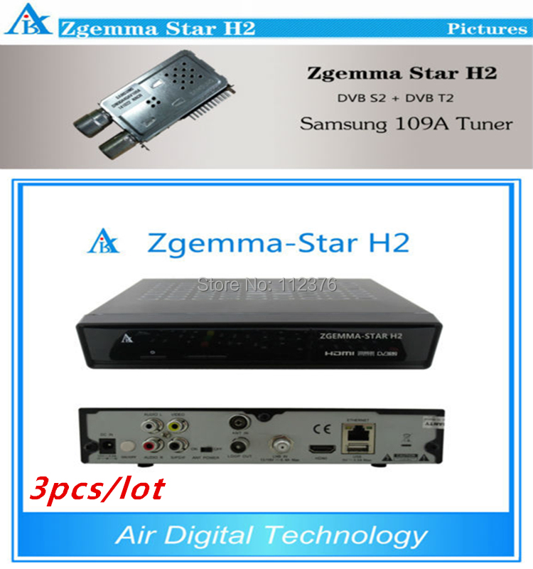 3pcs Enigma2 linux Combo decoder Zgemma Star H2 DVB-S2 DVB-T2/C Satellite Receiver no have boot problem(China (Mainland))