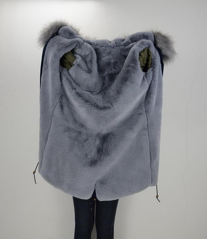S1544 2016 Wholesale / Retail Navy/ Green/ Black Long Jacket Women Real Raccoon Large Fur Collar Top Warm Parka Fur Lined Coat