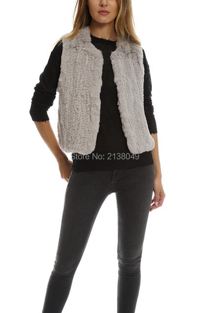 Fv015 Высокое качество короткий стиль ручного вязания шаблон кролика меховой жилет