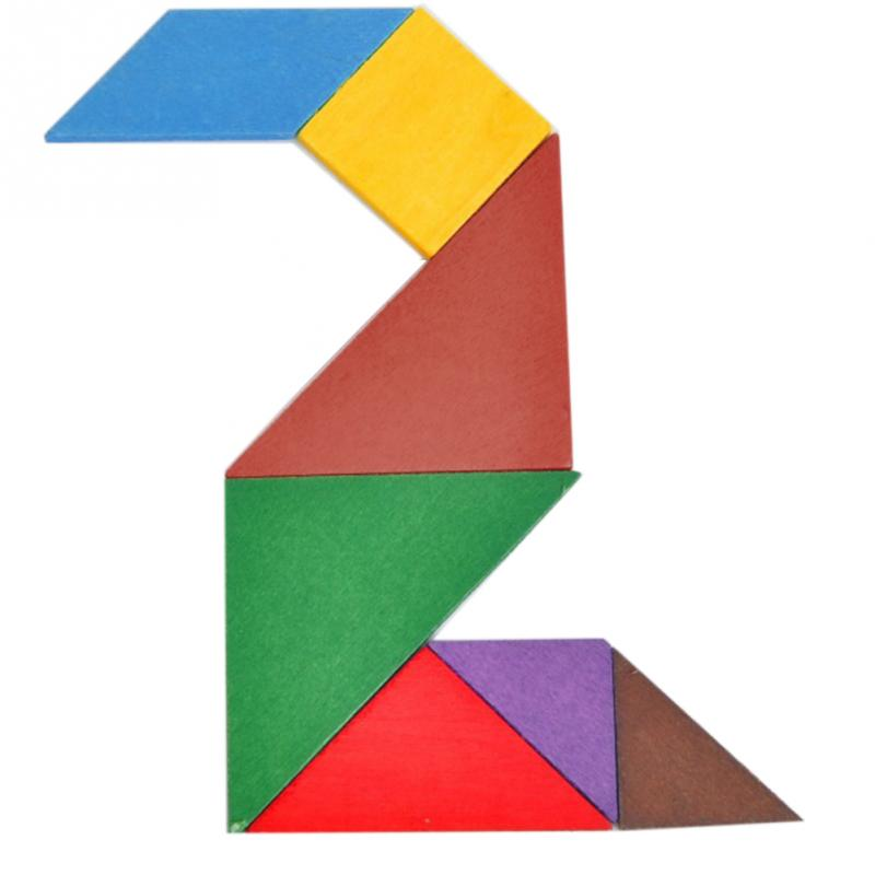 Wooden Tangram Puzzle DIY Game Building Intelligent Toy Kid's Educational Toys for Baby Playpens Baby's Gift(China (Mainland))
