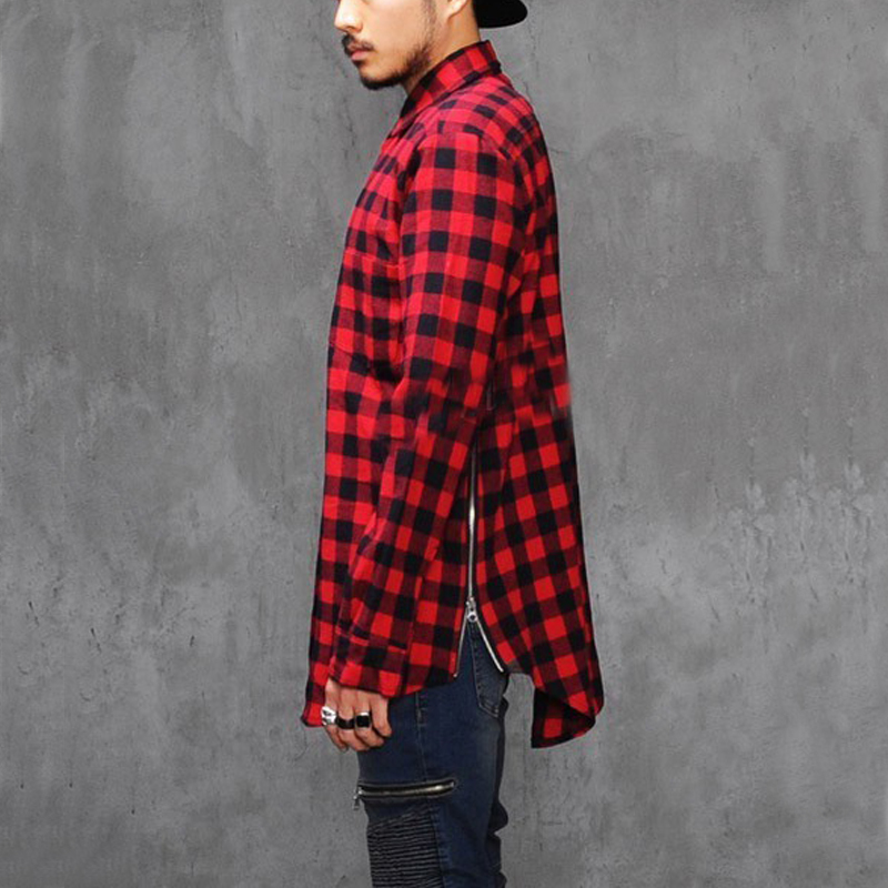 New Extended Long High Low Side Zipper Unisex Man Swag Shirt Tshirt T Shirt Hip Hop Men Streetwear Hem Plaid Blue Red male swag(China (Mainland))