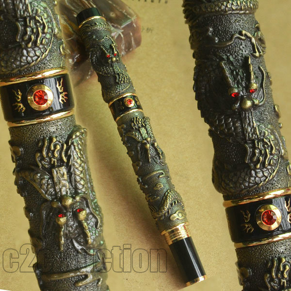 JINHAO ANTIQUE BRASS TWO DRAGON PLAY PEARL ROLLER BALL PEN CRYSTAL(China (Mainland))