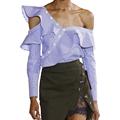 One shoulder off ruffles blouse shirt women tops 2017 autumn Casual blue striped shirt Long sleeve
