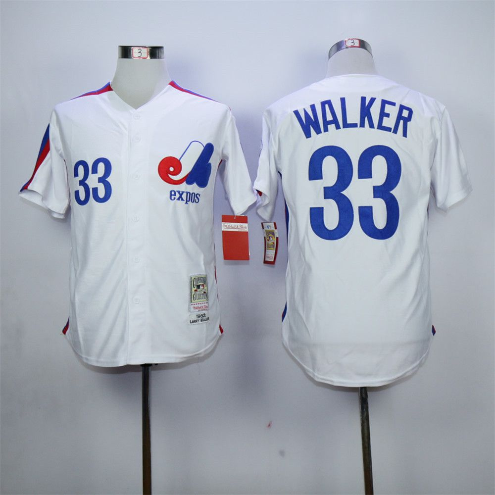Cheap Larry Walker Jersey Montreal Expos 33# Throwback Baseball Jersey Authentic Stitched Baseball Shirt Blue White(China (Mainland))