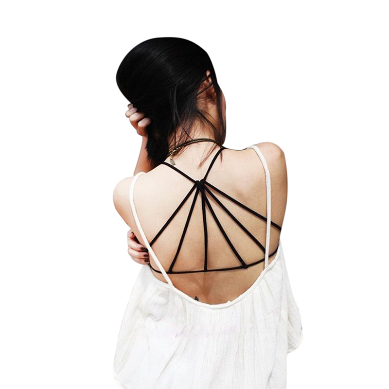 2015 Strappy Bra Women Tank Top Women's Sexy Tops Padded Bustier Bra Crop Top cropped Vest Strap Camisole(China (Mainland))