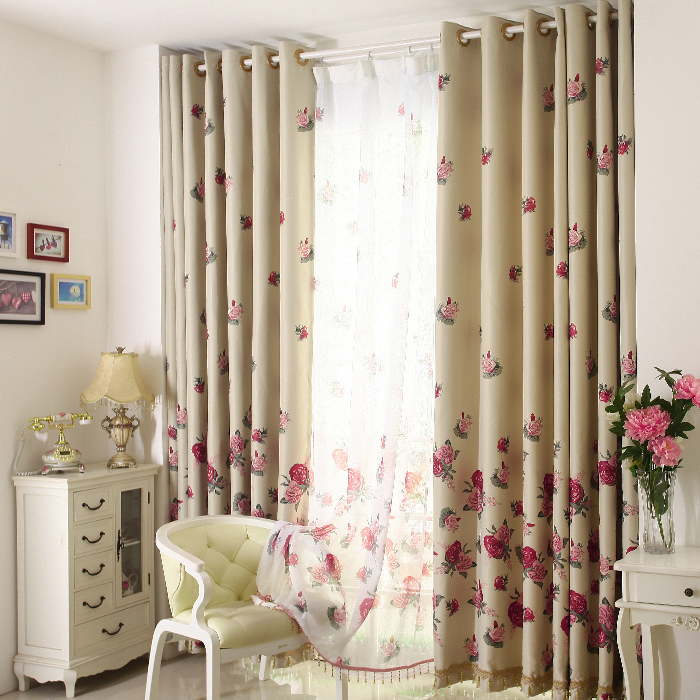 Popular red flower curtain buy cheap red flower curtain for Cortinas para comedor modernas