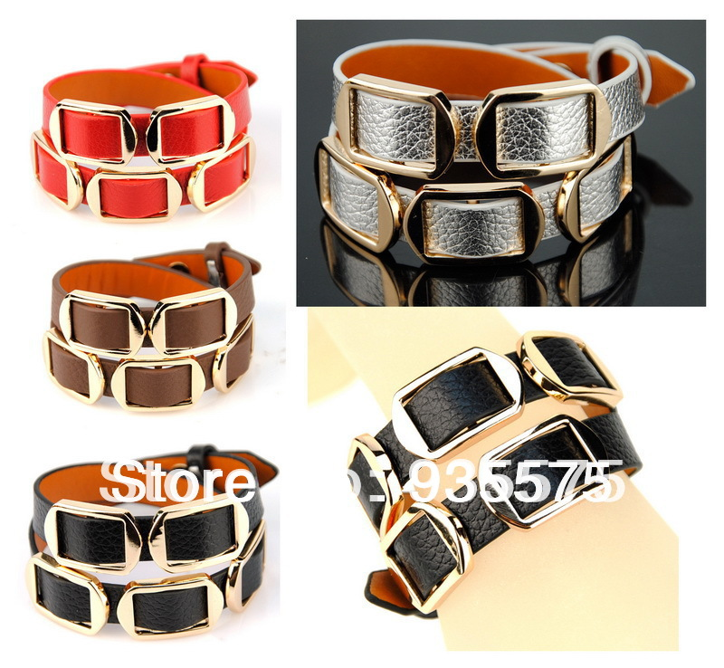 Womens Genuine Real Leather Wrap Bracelet Belt Buckle Bangle Elegant Cuff Wristband Designer Fashion Elegant Simple Wholesale(China (Mainland))