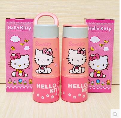 Retail Cartoon Hello Kitty Children's 6~12Hours 350ML Glass Quality Travel Vacuum Flask Water Bottles(China (Mainland))