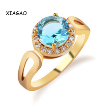 XIAGAO Fashion Size 8 Jordans Women Halo Big Finger Band Gold Plated Ring Round Cut Crystal CZ Zircon Wedding Jewelry(China (Mainland))