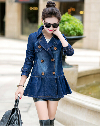 Denim coat female 2015 Spring Autumn new Slim long-sleeved double-breasted long sections Women burderry women - colothes W's store
