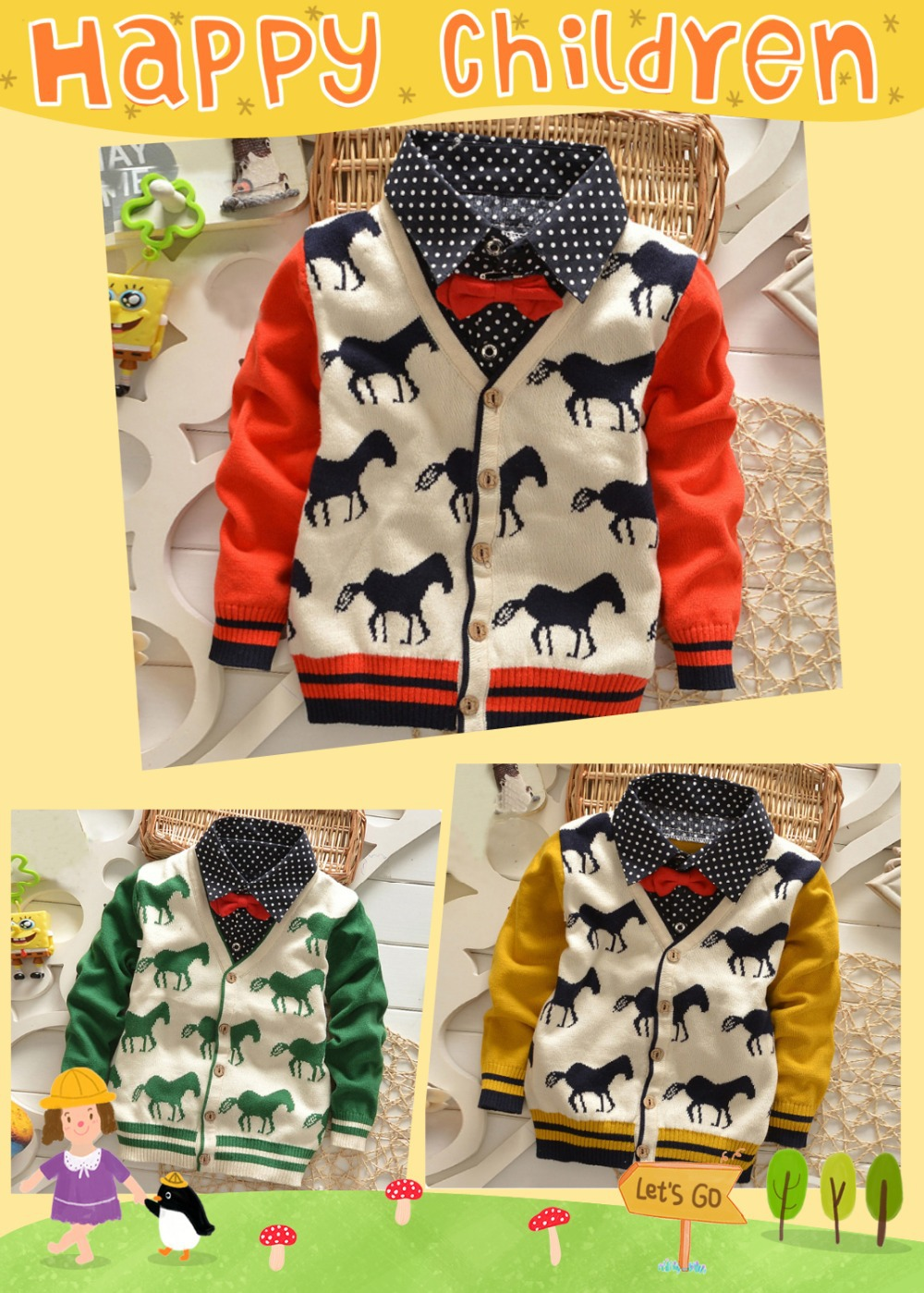Retail 2-5Y 3cols children sweater New Autumn/Winter handsome horse pattern baby sweater woolen knitted warm baby&kids cardigan(China (Mainland))