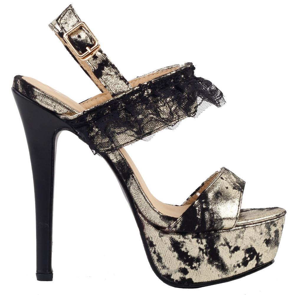 ซื้อ LF80104สีดำทองลูกไม้S Trappy Slingbackแพลตฟอร์มรองเท้ากริชขนาด4/5/6/7/8/9/10