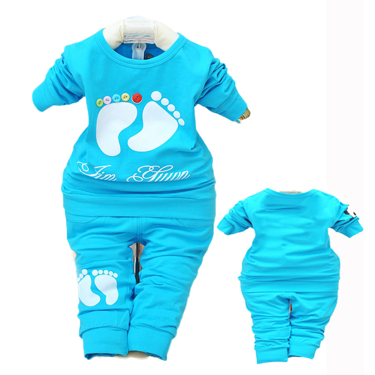 2 Piece set at home Modal little boy and girl Jersey Trouser Set jumper suits newborn layette child kid clothing sets tops pants(China (Mainland))