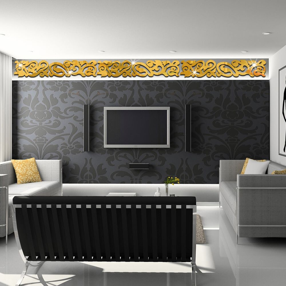 room tv backdrop waist lace strip mirror stickers living room bedroom