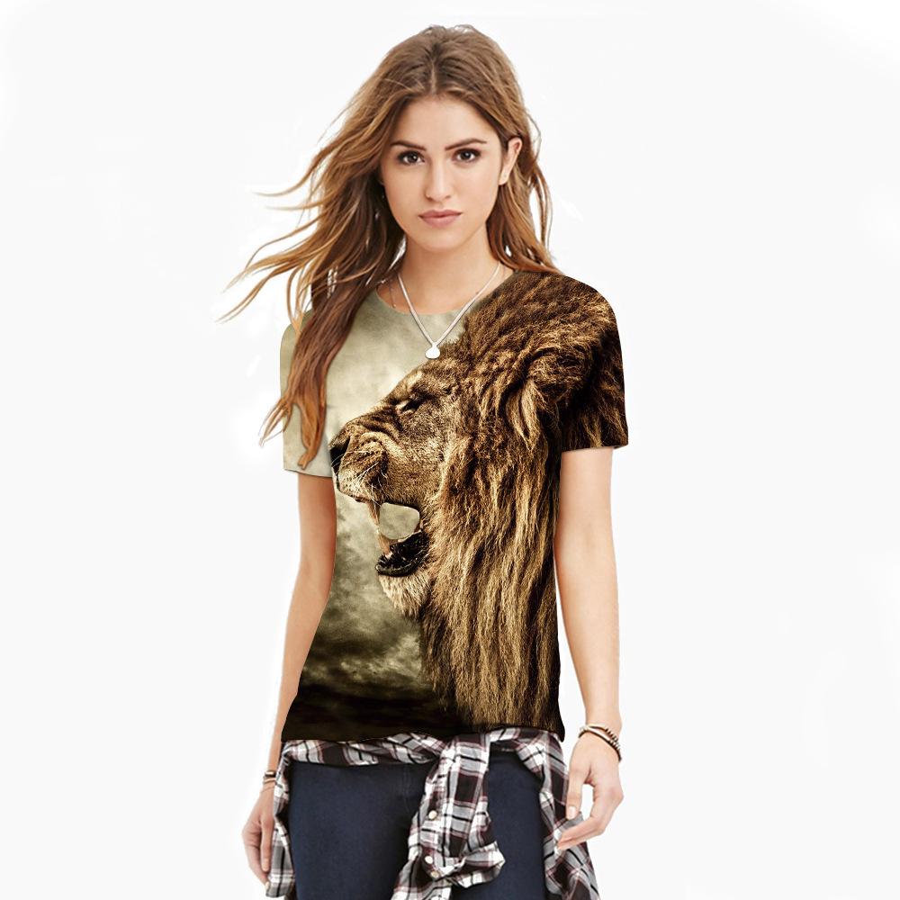 Fashion T Shirt Women Summer Style Women Men T-shirt Unisex Brown Lion Tiger 3d Print Short Sleeve Cool Couples Tee Plus Size(China (Mainland))