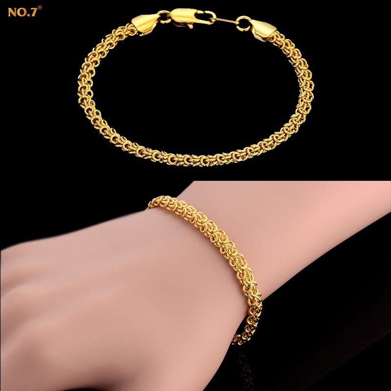 Retro Unique Chain Link Bracelet Men Women Brand Vintage Jewelry New Trendy 18k Real Gold Plated Bracelets Bangles Wholesale(China (Mainland))