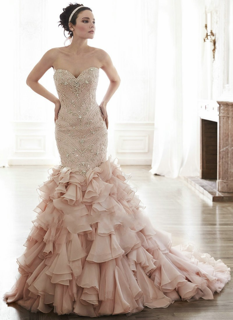 Gorgeous pink mermaid wedding dress 2015 beaded ruffles for Pink ruffle wedding dress